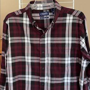 NWOT Chaps brand maroon plaid cotton/poly shirt M